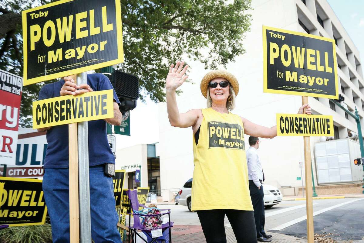 Vanessa Powell, wife of Conroe Mayor Toby Powell, is seen campaigning for her husband in 2016. Despite is recent death, Powell will be on the Nov. 3 ballot and Vanessa is continuing his campaign hoping for a victory.