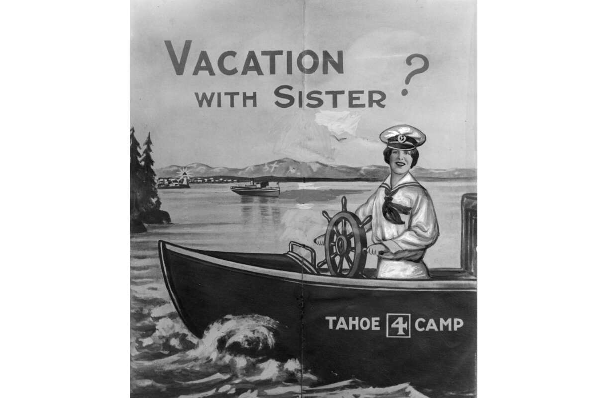 A pamphlet distributed by Aimee Semple McPherson for a summer camp she planned to hold in Lake Tahoe in 1928. The scheme became the subject of multiple fraud lawsuits which she settled out of court.