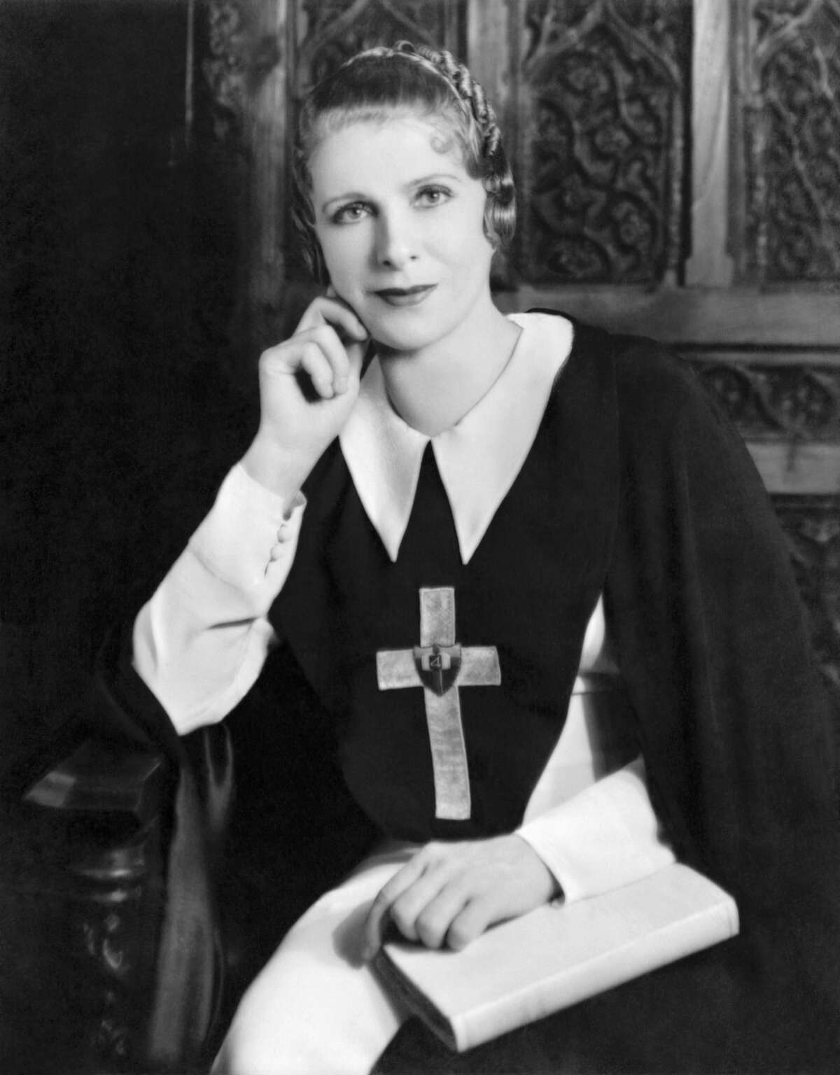 A 1935 portrait of famed evangelist Aimee Semple McPherson at her Angelus Temple in Los Angeles.