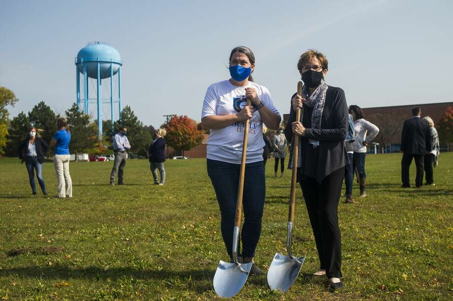 Marcie Post, recreation manager for the City of Midland, left, and Mayor Maureen Donker, right, pose for a photo during a groundbreaking ceremony at the future site of the Miracle Field Friday, Oct. 9, 2020 at Central Park in Midland. (Katy Kildee/kkildee@mdn.net) Photo: (Katy Kildee/kkildee@mdn.net)
