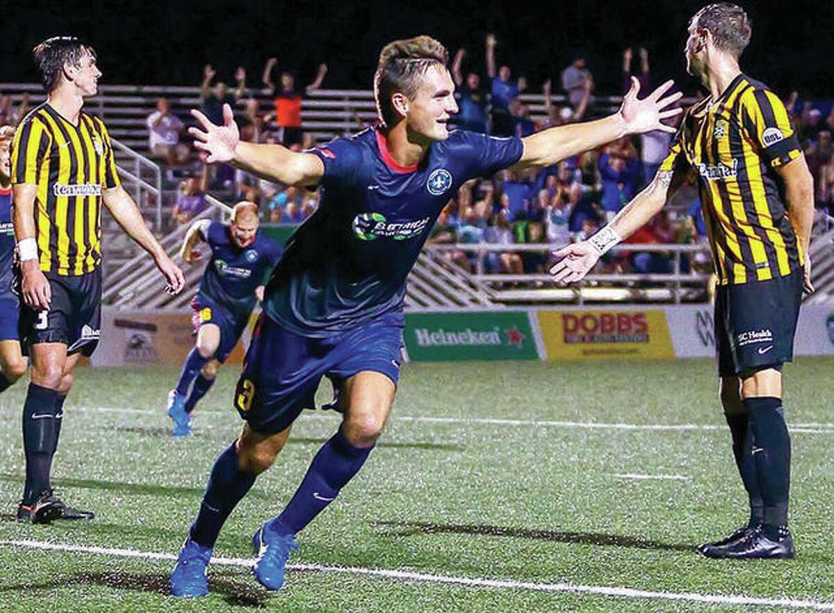 Edwardsville native Sam Fink of Saint Louis FC celebrates after scoring a goal. The Wake Forest University product is a fan favorite as the team begins its final trip to the playoffs Saturday in Hartford, Conn.