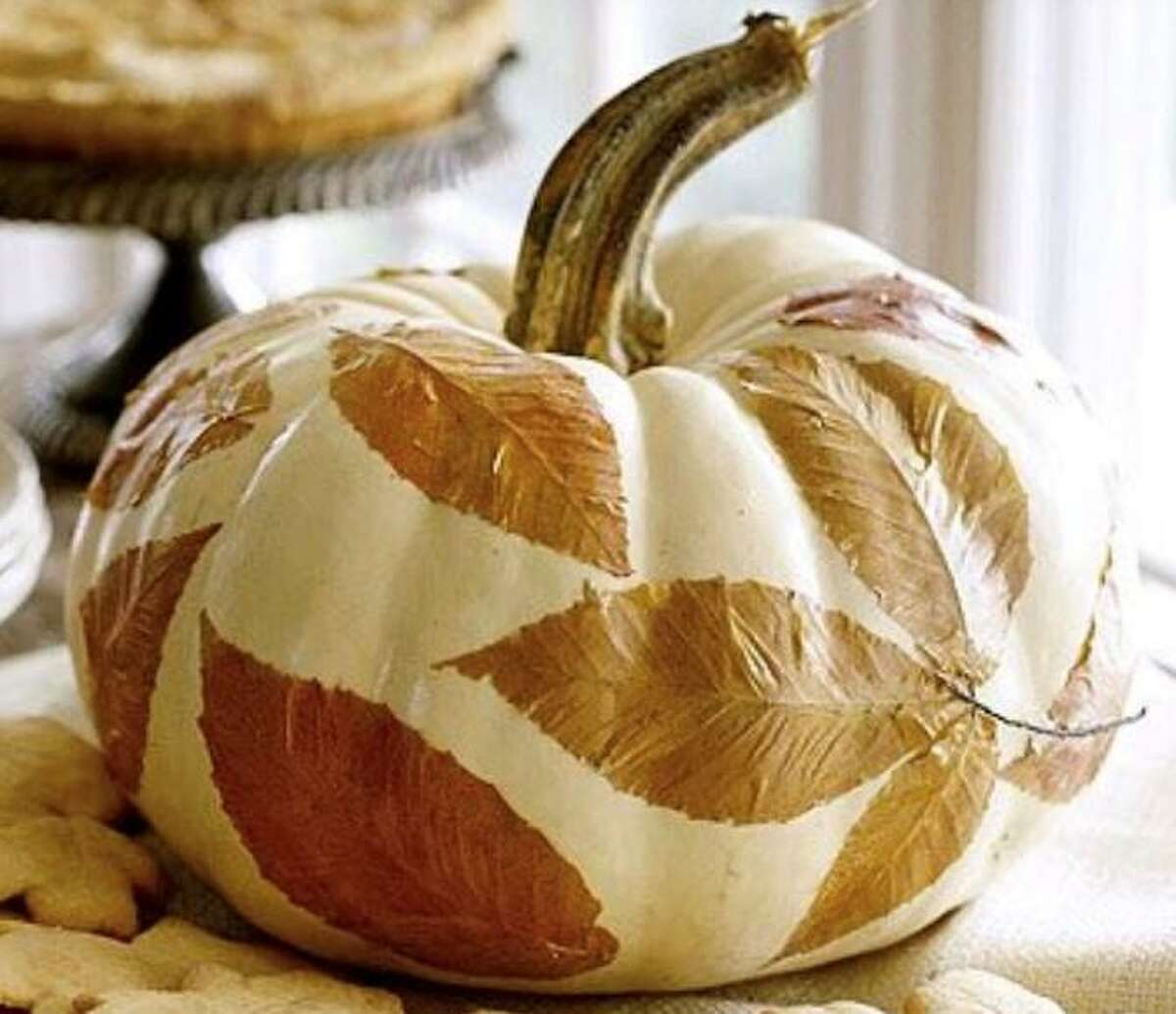 A leafy pumpkin is one option for decorating at the Wilton Historical Society on Oct. 17, 2020.