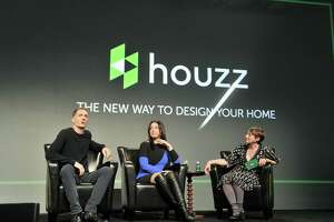 Houzz Co-Founder and President Alon Cohen, Houzz Co-Founder and CEO Adi Tatarko, and TechCrunch moderator Ingrid Lunden speak onstage during TechCrunch Disrupt SF 2017 at Pier 48 on Sept. 19, 2017.