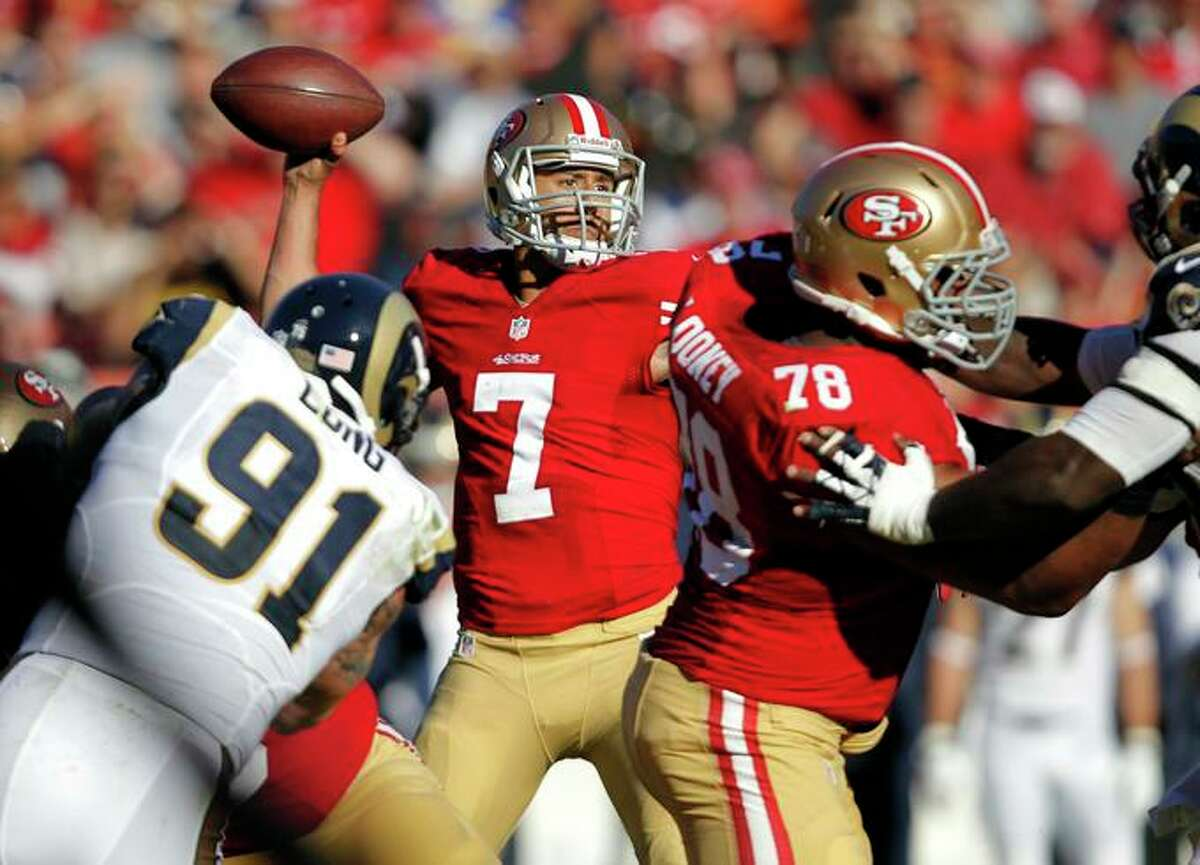 49ers' quarterback Colin Kaepernick led a 23-13 win over the St. Louis Rams on Dec. 1, 2013, at Candlestick Park.