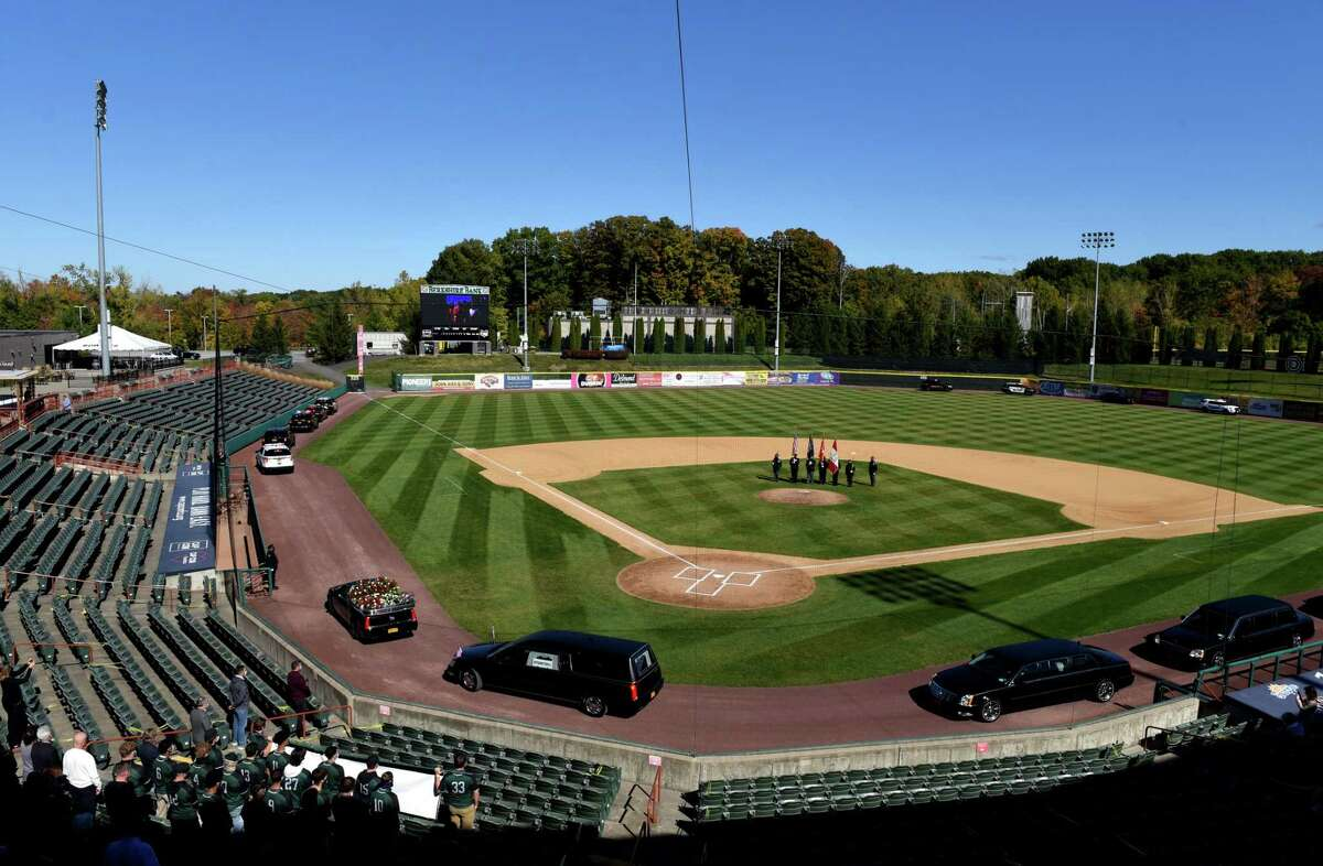 A funeral procession for former Senate Majority Leader Joseph L. Bruno rounds the bases at his namesake stadium on Friday, Oct. 9, 2020, at Joseph L. Bruno Stadium in Troy, N.Y. Sen. Bruno passed away on Tuesday at age 91. (Will Waldron/Times Union)