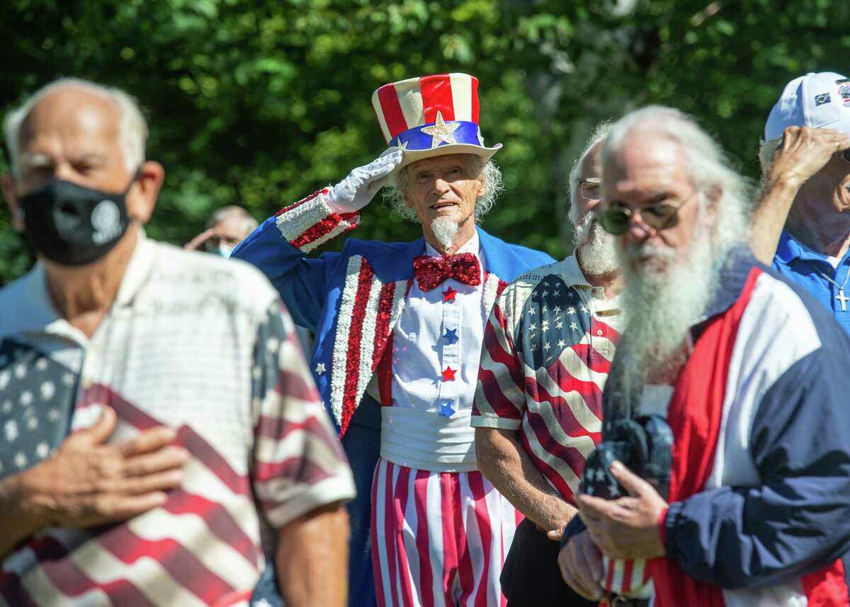 Fred Polnisch performs as Uncle Sam during the 62nd graveside ceremony honoring the real Uncle Sam Wilson's birthday at Oakwood Cemetery in Troy on Sept. 12. (Jim Franco / Special to Times Union)