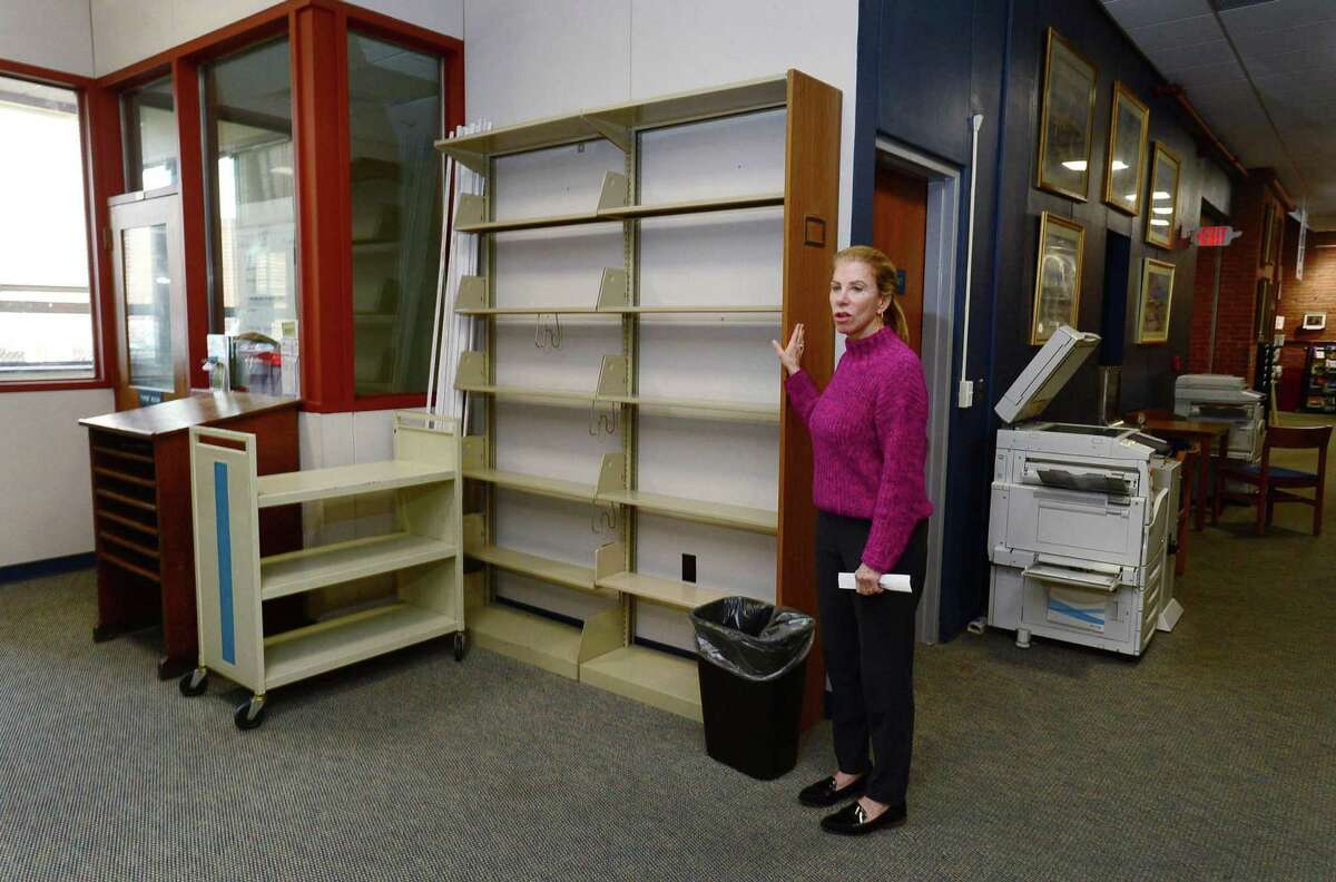 Executive Director Christine Bradley talks about the new plans for the Norwalk Public Library Main Branch on Belden Avenue Friday, May 10, 2019. Bradley retired on Oct. 9, 2020 having taken an early retirement package from the city.