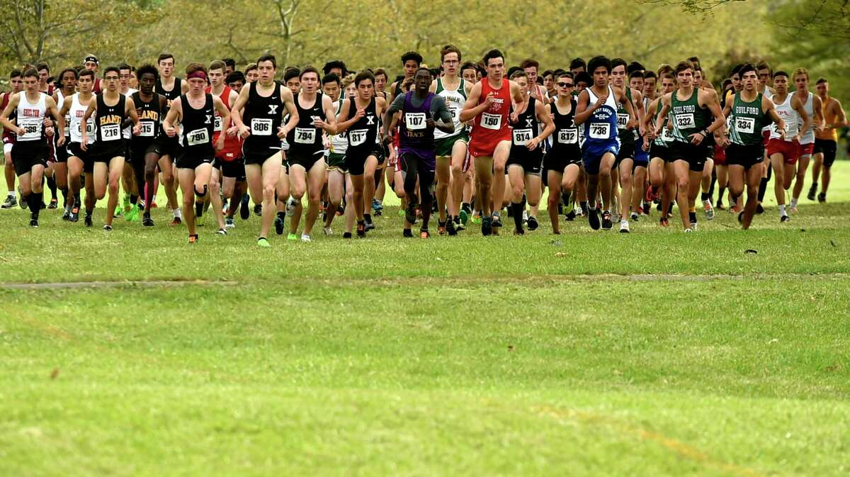 The start of the SCC boys cross country championship at East Shore Park in New Haven in 2019. Things will look differently this season with staggered start times, both boys and girls, throughout the championship meet because only 50 runners are allowed per race due to COVID-19.