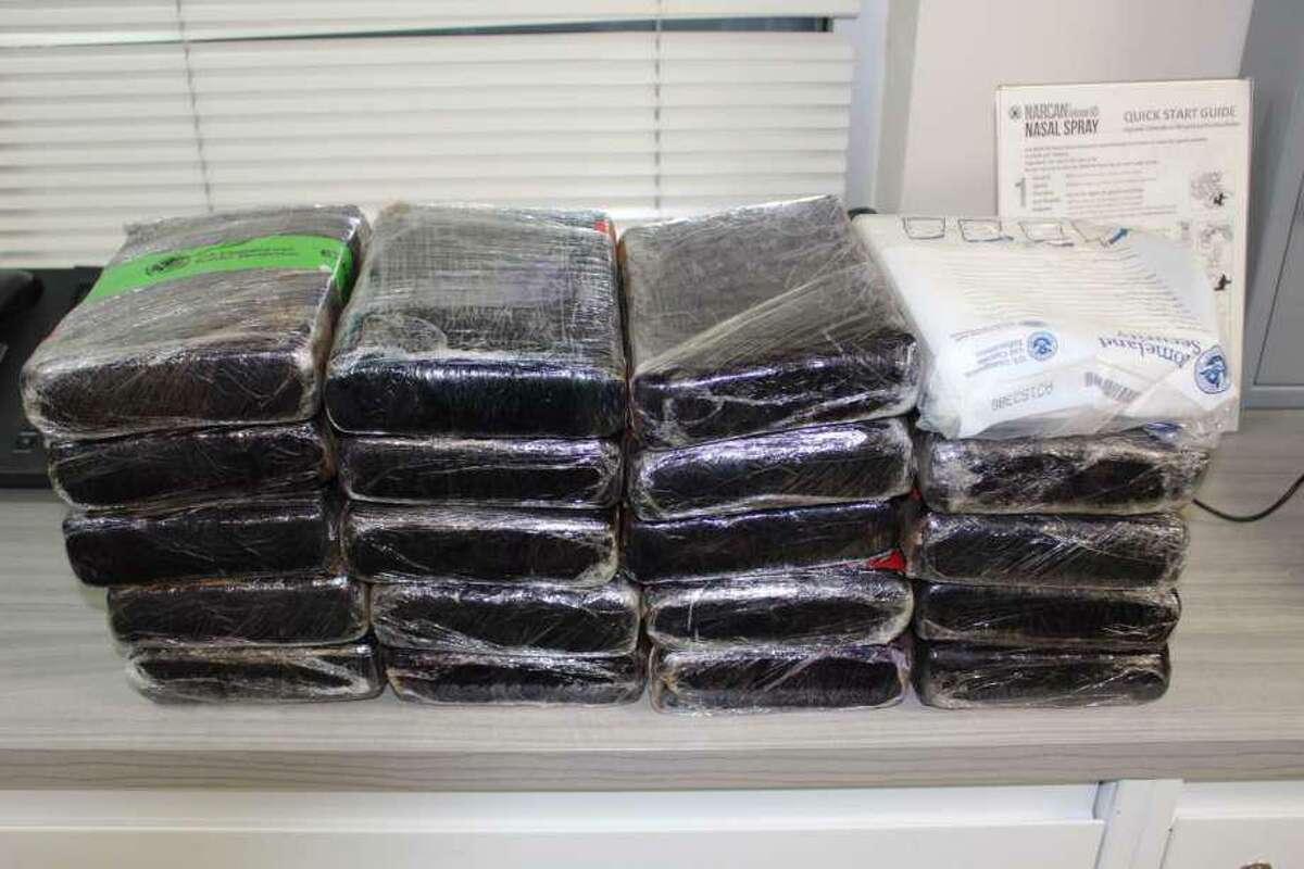 Shown are 51.8 pounds of cocaine seized in a previous smuggling attempt at the World Trade Bridge.