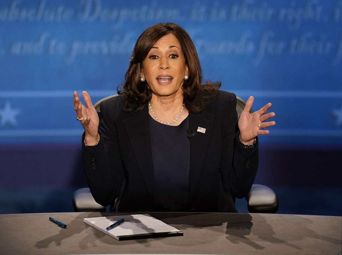 Democratic vice presidential candidate Sen. Kamala Harris, D-Calif., responds to a question during the vice presidential debate with Vice President Mike Pence Wednesday, Oct. 7, 2020, at Kingsbury Hall on the campus of the University of Utah in Salt Lake City. (AP Photo/Julio Cortez)