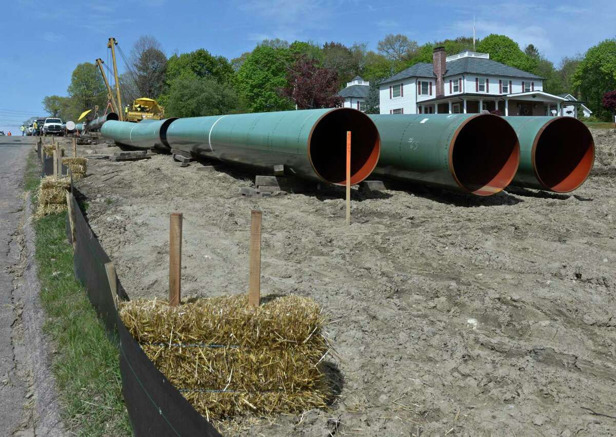 Gas pipeline staged for installation in Danbury, Conn., in 2016 the year that the Connecticut Siting Council approved a new natural gas plant at the opposite end of the state in Killingly. In October 2020, the Connecticut Public Utilities Regulatory Authority rejected an Eversource application to build a new pipeline to the Killingly plant on grounds it did not provide sufficient information in elements of the application.