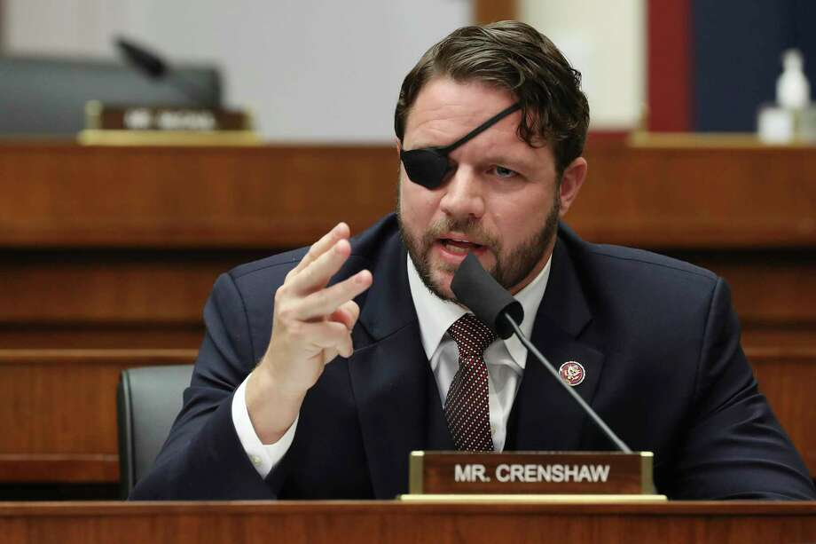 """U.S. Rep. Dan Crenshaw, a Houston Republican, has told journalists that renewable energy is """"silly"""" and wouldn't support a carbon tax, something many major oil companies are willing to accept. Photo: Chip Somodevilla /Associated Press / 2020 Getty Images"""