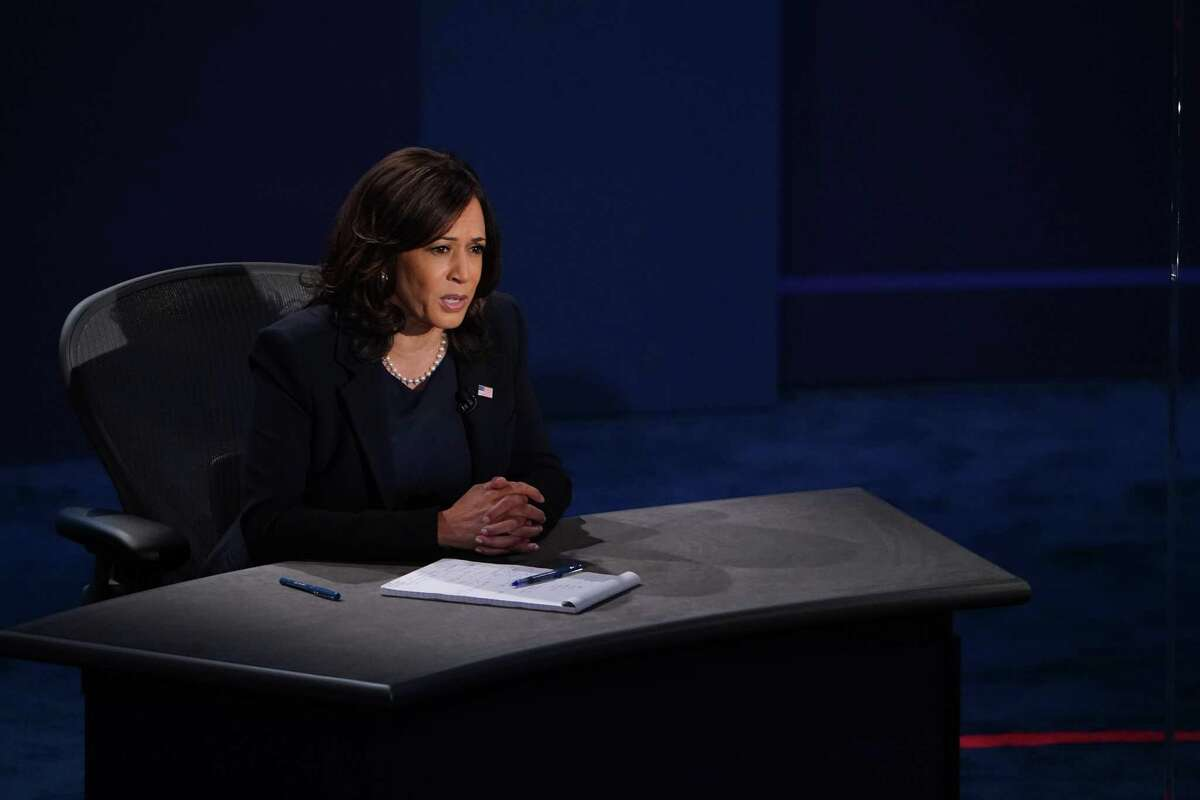Sen. Kamala Harris participates in the vice presidential debate Thursday at the University of Utah in Salt Lake City. A reader thinks she should have said what she might do about fracking.