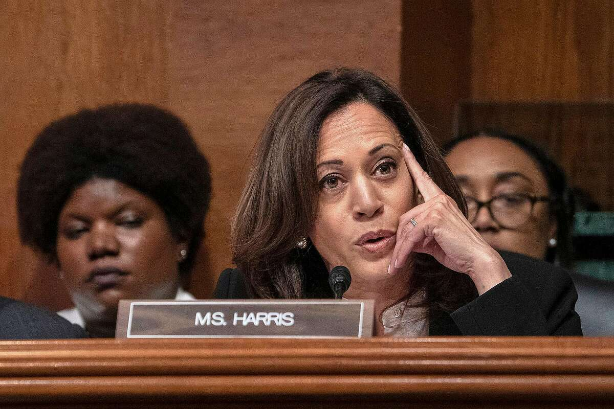 Sen. Kamala Harris (D-Calif.), asks questions of U.S. Attorney General William Barr as he testifies before the Senate Appropriations Committee in the Dirksen Senate Office Building on Wednesday, May 1, 2019, in Washington, D.C. (Ken Cedeno/Sipa USA/TNS)