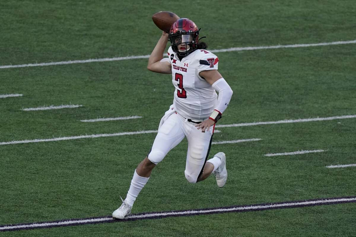 Texas Tech quarterback Henry Colombi looks to throw the ball during the second half of an NCAA football game against Kansas State Saturday, Oct. 3, 2020, in Manhattan, Kan. Kansas State won 31-21. (AP Photo/Charlie Riedel)