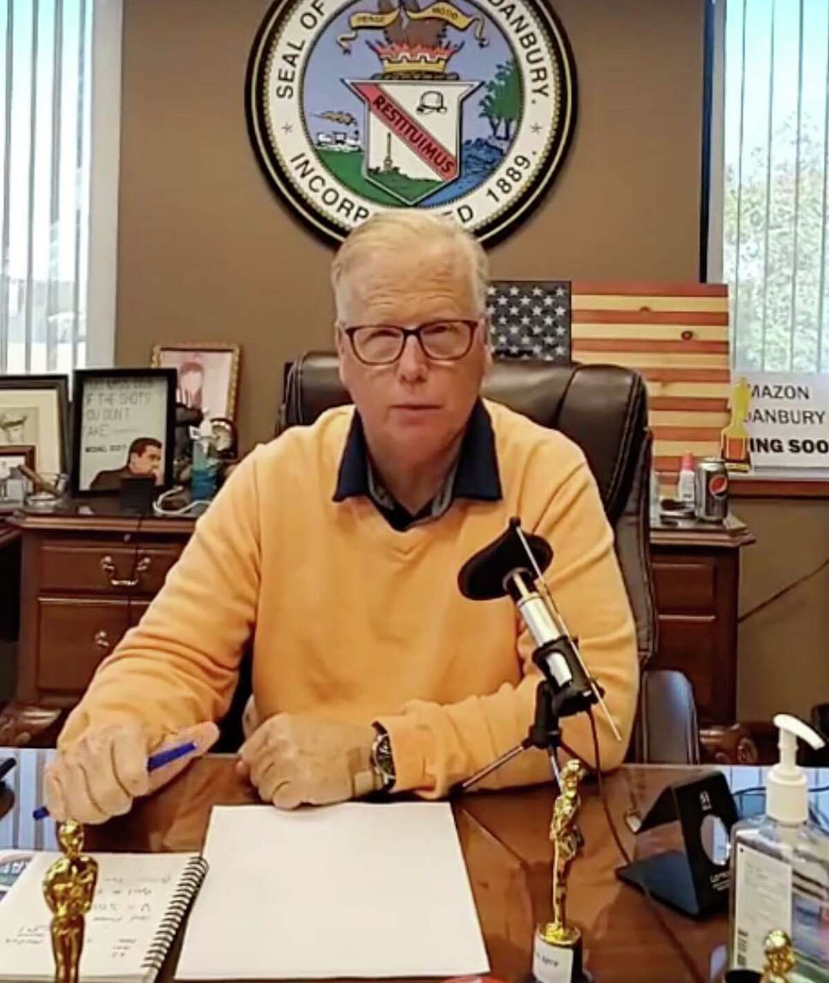 Mayor Mark Boughton gives an update on COVID-19 in Danbury, Conn., Thursday, Oct. 8, 2020.