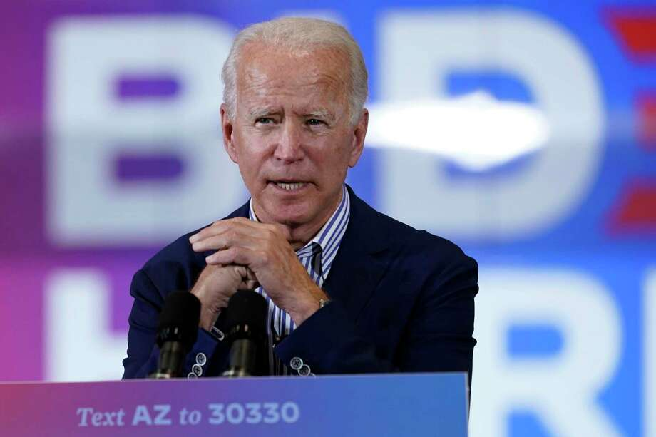 Democratic presidential candidate former Vice President Joe Biden speaks at the Carpenters Local Union 1912 in Phoenix, Thursday, Oct. 8, 2020, to kick off a small business bus tour. (AP Photo/Carolyn Kaster) Photo: Carolyn Kaster, STF / Associated Press / Copyright 2020 The Associated Press. All rights reserved