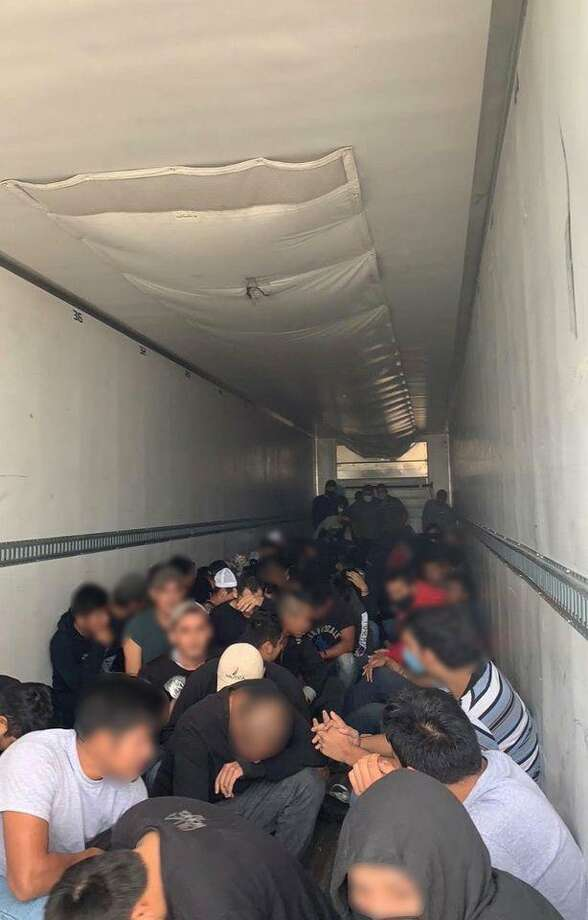 U.S. Border Patrol agents said they discovered 100 people in the back of a refrigerated trailer. Authorities determined that all were immigrants who had crossed the border illegally. Photo: Courtesy Photo /U.S. Border Patrol