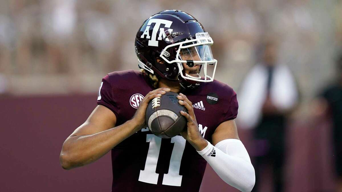 Texas A&M quarterback Kellen Mond (11) looks to throw a pass against Vanderbilt during the first half of an NCAA college football game Saturday, Sept. 26, 2020, in College Station.