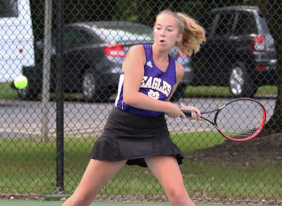At Friday's doubles portion of the Mississippi Valley Conference Girls Tennis Tournament in Mascoutah, CM's Brooke Barker, above, and teammate Allie Lively pulled off a 6-4, 6-3 win over Jersey's Rachel Hall and Kate Jones in the first round of the their flight and battled through a pair of three-set losses in the semifinals and in the third-place match. Singles play is set for Saturday. Photo: Greg Shashack File   The Telegraph