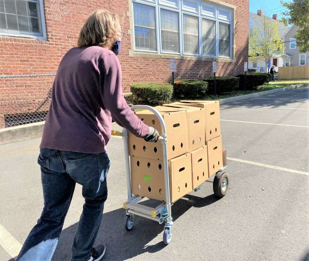 Volunteers converged on Macdonough Elementary School in Middletown Thursday to distribute hundreds of boxes of fresh food, courtesy of the USDA Farmers to Families program.