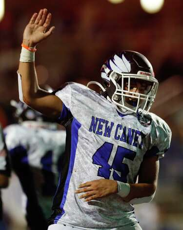 New Caney defensive end Jayden Peters (45) signals for a Porter turnover during the second quarter of a District 8-5A high school football game at Randall Reed Stadium, Friday, Oct. 9, 2020, in Porter. Photo: Jason Fochtman, Staff Photographer / 2020 © Houston Chronicle