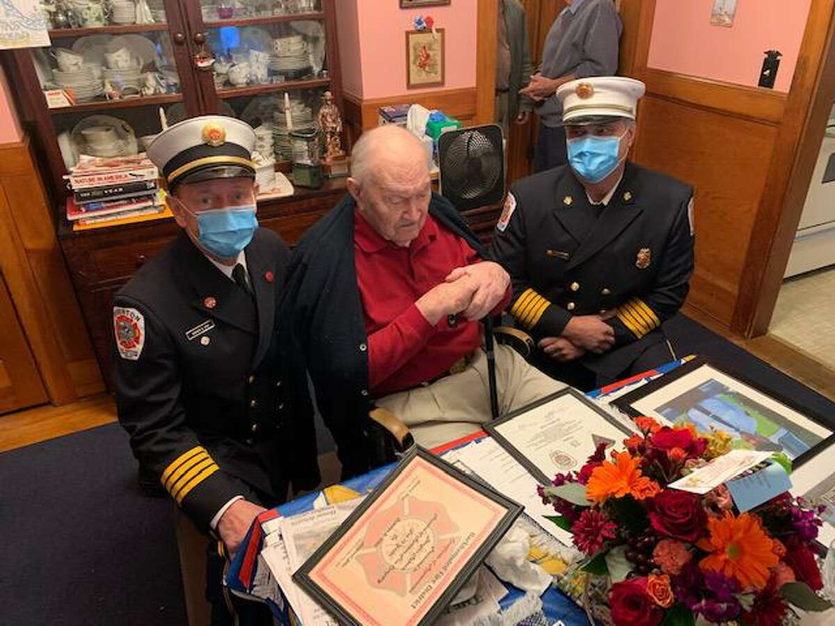 The Riverton Fire Department honored Doug Roberts on his 96th birthday and his 75 years in the fire department Oct 2.