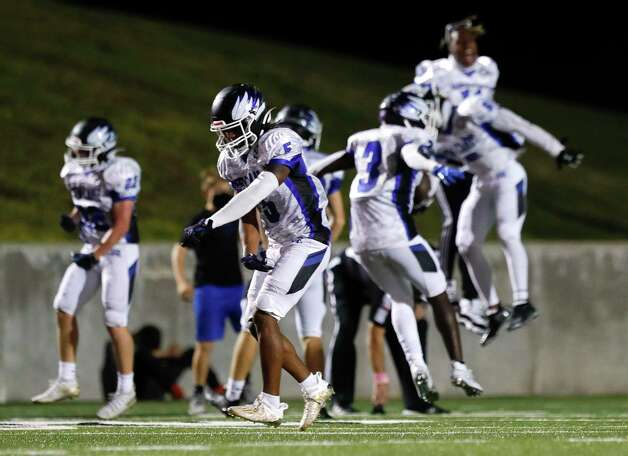 New Caney defensive back D'Juan Grant (5) dances after Porter fumbled a punt near their own goal line during the third quarter of a District 8-5A high school football game at Randall Reed Stadium, Friday, Oct. 9, 2020, in Porter. Photo: Jason Fochtman, Staff Photographer / 2020 © Houston Chronicle