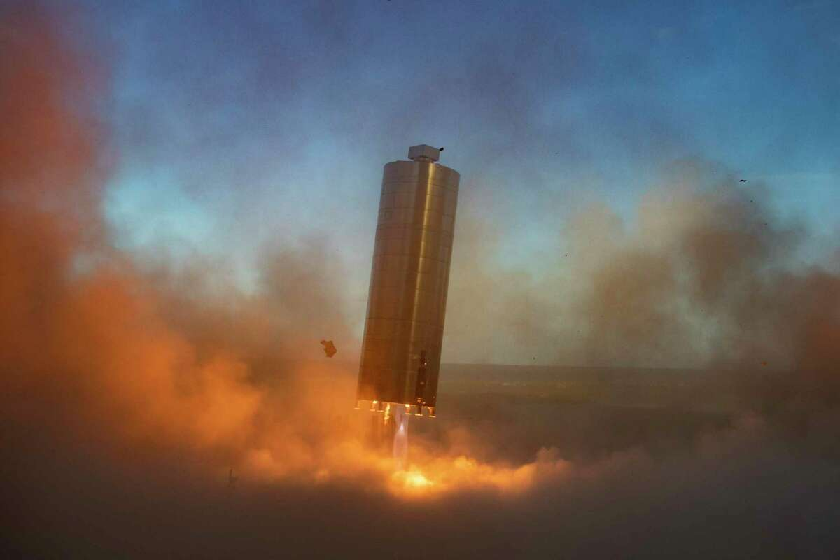 The SpaceX Starship prototype takes a 150-meter