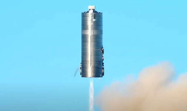 A screenshot from the LabPadre YouTube channel shows the SpaceX Starship prototype as it raises itself 150 meters into the air before lowering back to the ground.