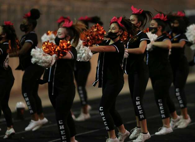 Dobie Longhorns cheer leaders on the sideline during the first quarter of the game against Bush Broncos Friday, Oct. 9, 2020, at Hall Stadium  in Missouri City. Photo: Yi-Chin Lee, Staff Photographer / © 2020 Houston Chronicle