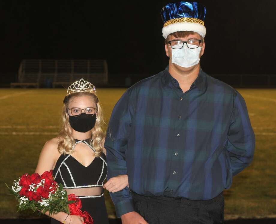 Alexis Tracy and Anthony Beccaria were crowned Brethren's Homecoming Queen and King Friday night at Brethren's football field. Photo: Kyle Kotecki/News Advocate