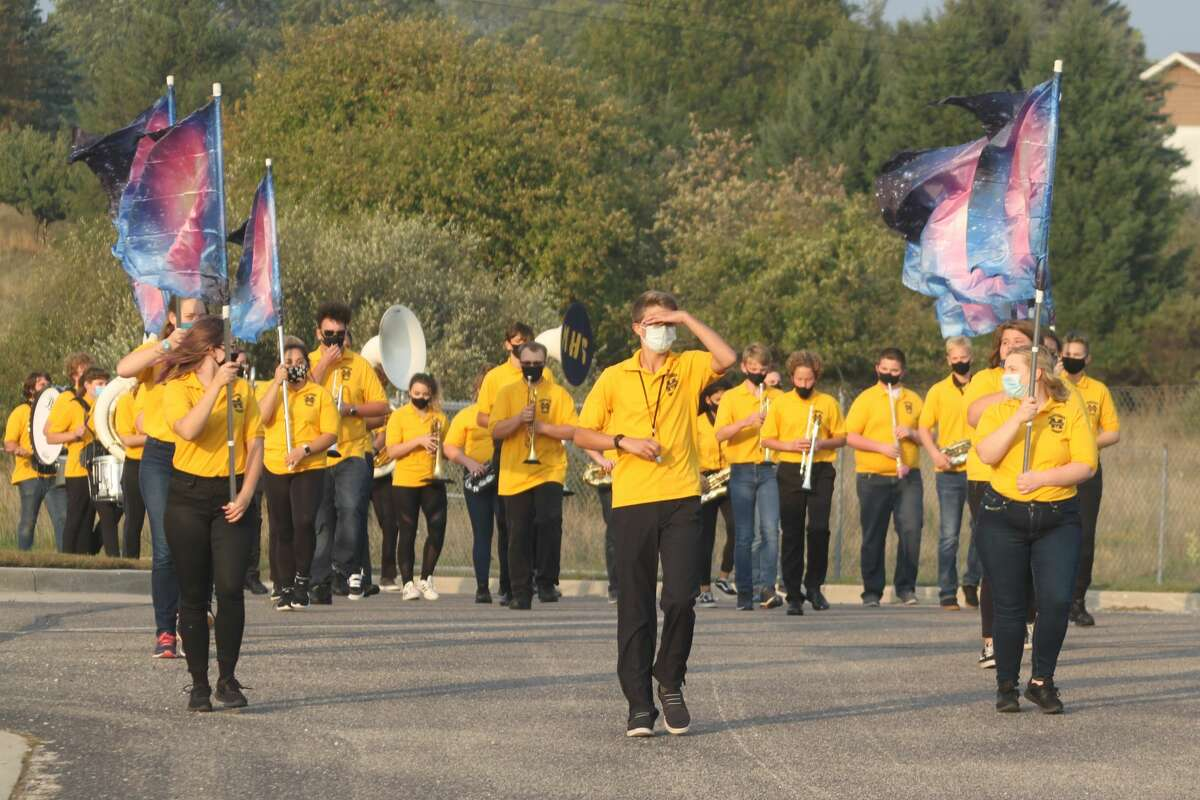 The Manistee High School Marching Band performs its