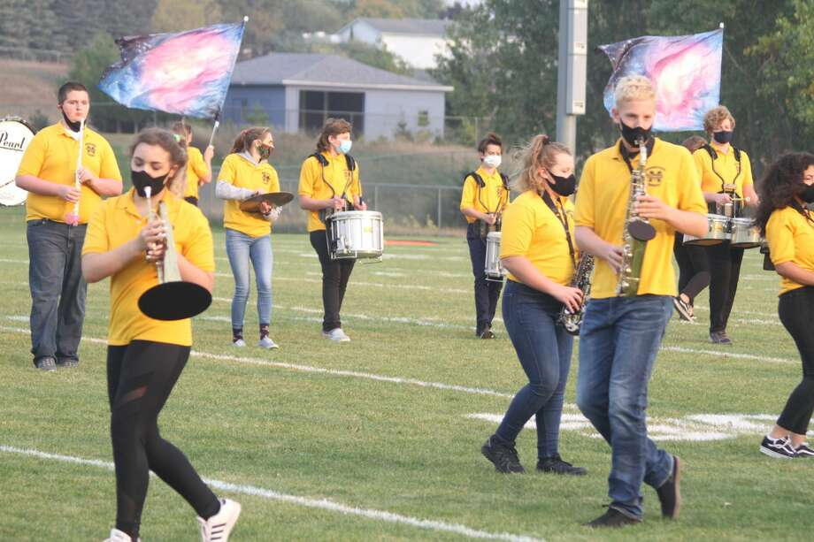 "The Manistee High School Marching Band performs its ""Guardians of the Galaxy"" show before the big game Friday at Chippewa Field. Photo: Kyle Kotecki/News Advocate"
