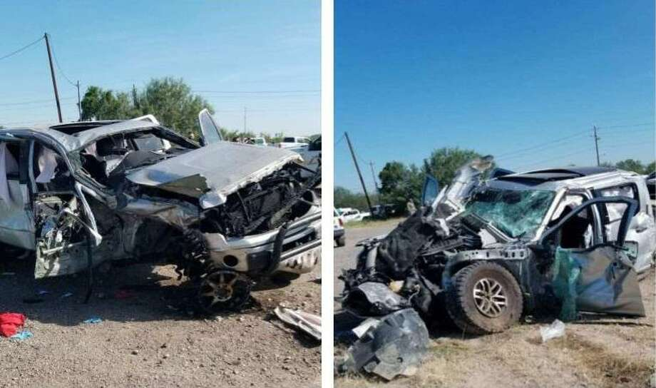 First responders said these two vehicles were involved in a crash that killed a woman and injured two others in northwest Laredo. Photo: Courtesy Photo /Laredo Fire Department