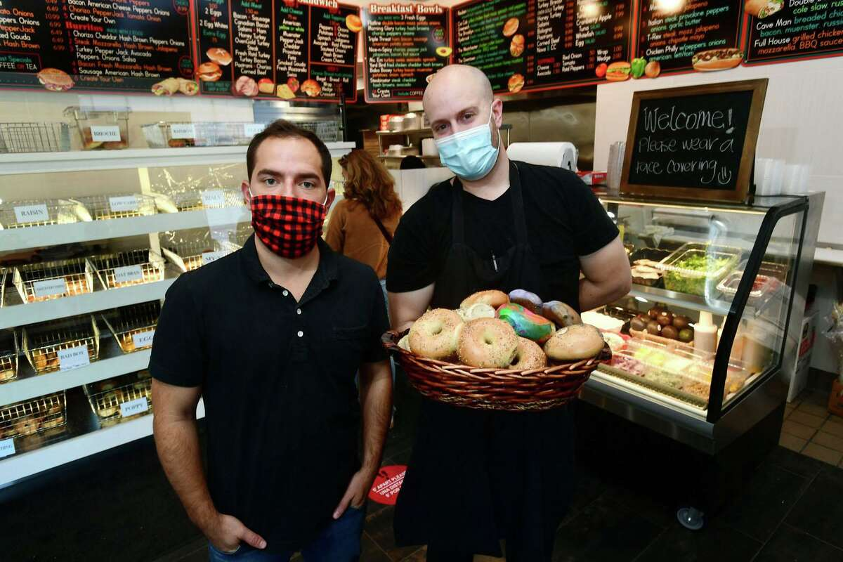 Brothers Richard and Steve Damato opened a new storefront of their shop Lenny's Bagel's Tuesday, October 6, 2020, in Greenwich, Conn.
