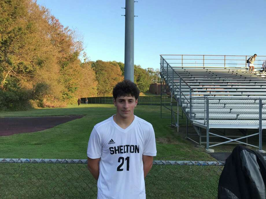 Alessio Sciortino scored the first goal in Shelton's 2-0 victory over Foran. Photo: Bill Bloxsom / Hearst Connecticut Media / Shelton Herald
