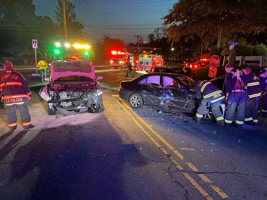 The scene of an accident Friday evening in Fairfield Photo: Fairfield FD / Contributed Photo