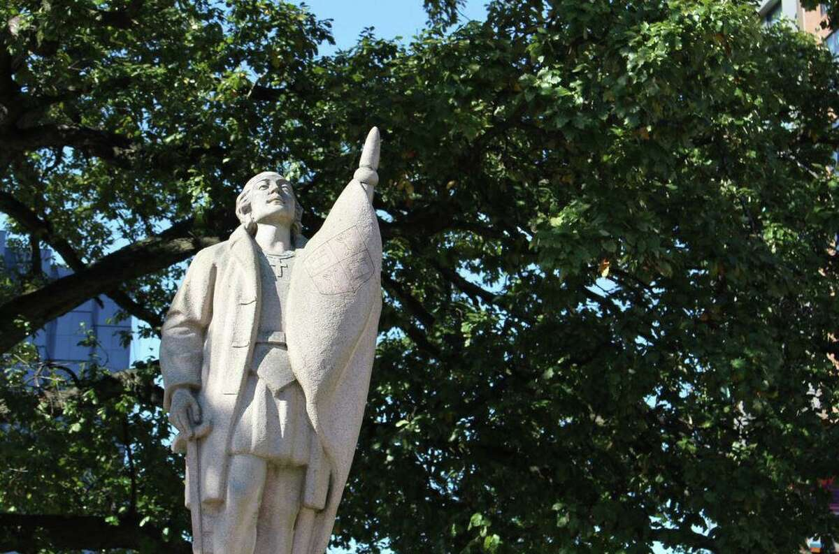 The statue of Christopher Columbus in downtown Stamford was erected in 1960.
