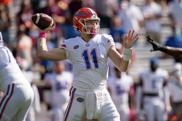 Florida quarterback Kyle Trask (11) pass down field during the first quarter of an NCAA college football game against Texas A&M, Saturday, Oct. 10, 2020. in College Station, Texas. (AP Photo/Sam Craft) Photo: Sam Craft, Associated Press / Copyright 2020 The Associated Press. All rights reserved.
