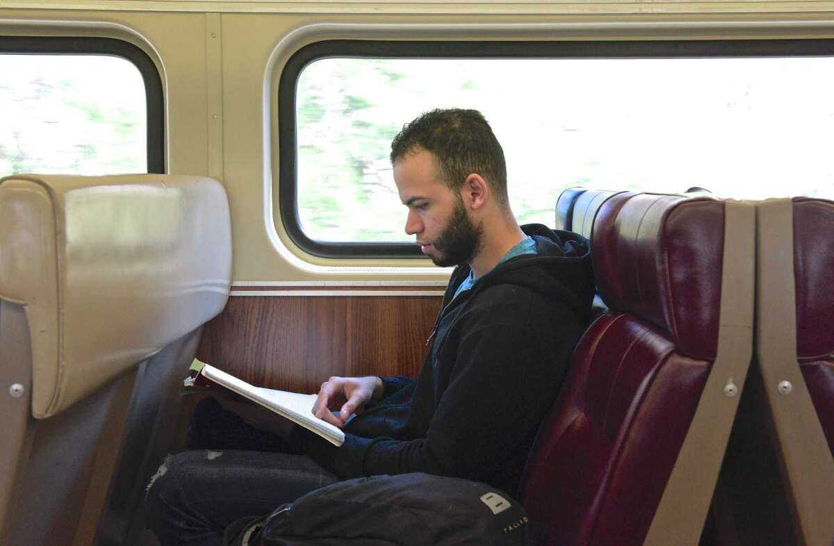 Joel Matos, of Stamford, takes a Metro-North train to Danbury on April 25, 2019, Danbury, Conn. Connecticut has received a $400,000 grant to study improvements to the Danbury and New Canaan branch lines.