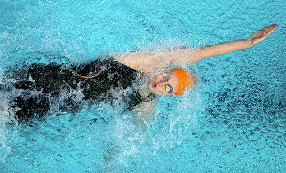 Edwardsville's Bailey Grinter of the University of Tennessee, a former Telegraph Swimmer of the Year, won the 100-yard backstroke and the 50 freestyle for her team at Friday's annual Orange and White meet in Knoxville, Tenn.