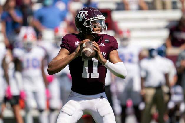 Texas A&M quarterback Kellen Mond (11) looks downfield to pass against Florida during the second half of an NCAA college football game, Saturday, Oct. 10, 2020. in College Station, Texas. (AP Photo/Sam Craft) Photo: Sam Craft, Associated Press / Copyright 2020 The Associated Press. All rights reserved.