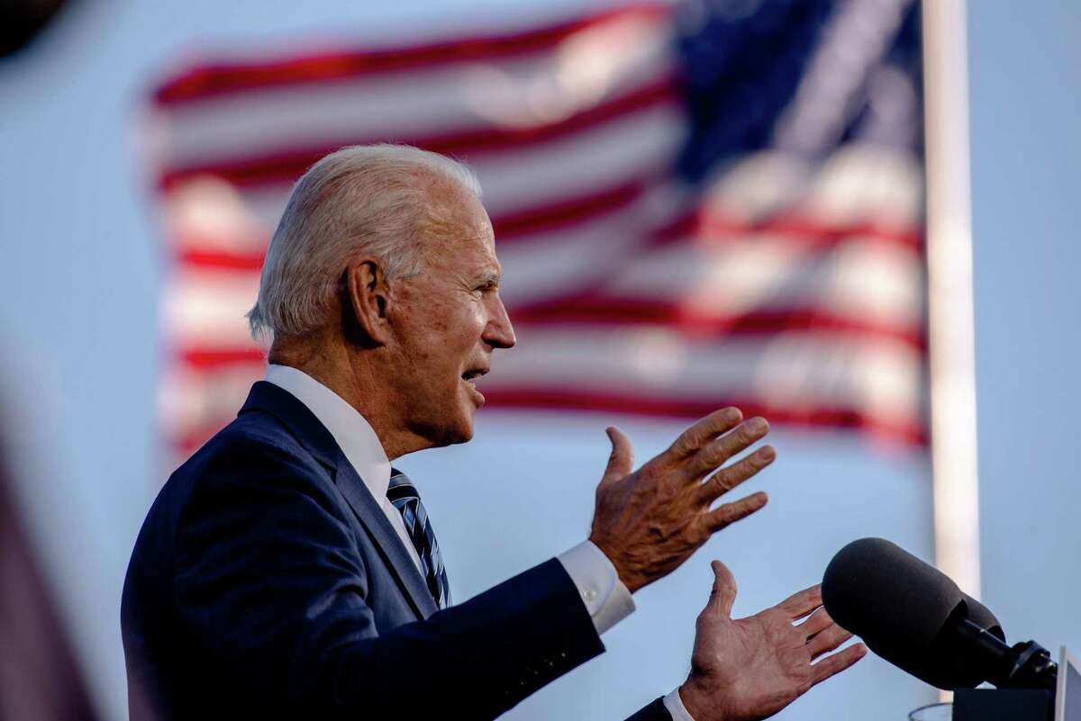 Joe Biden, the Democratic presidential nominee, speaks at the Lodges at Gettysburg near Gettysburg National MIlitary Park in Gettysburg, Pa., on Tuesday, Oct. 6, 2020. (Hilary Swift/The New York Times)