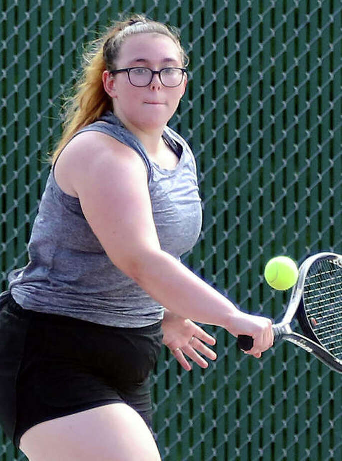 Alton senior Lydia Criveau finished fourth at No 1 singles in Saturday's Southwestern Conference Girls Tennis Tournament at Alton High School. Photo: Greg Shashack | The Telegraph