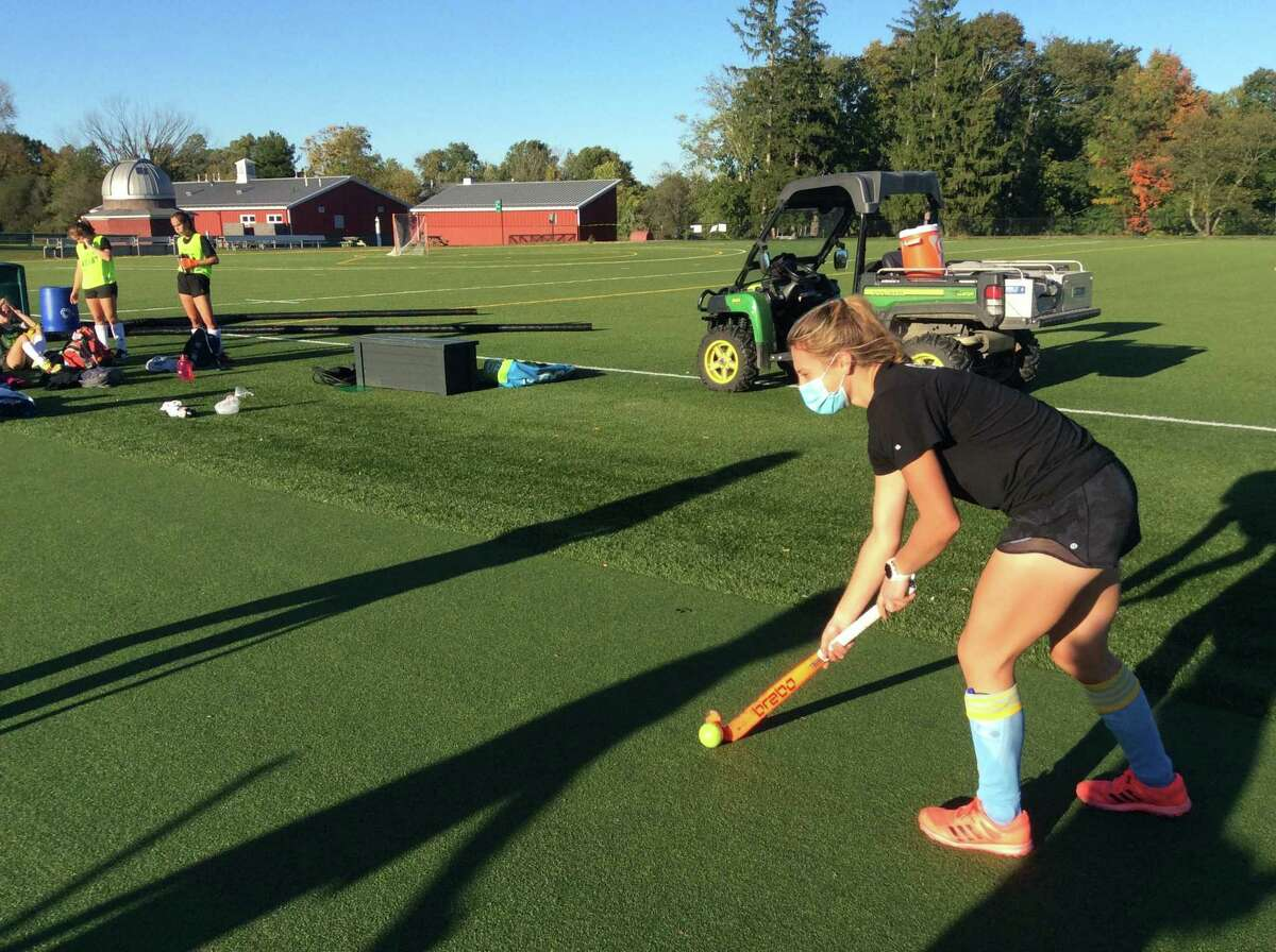 Beth Yeager, right, is a senior captain of the Sacred Heart Greenwich field hockey team. She's been a member of the team since she was in eighth grade.
