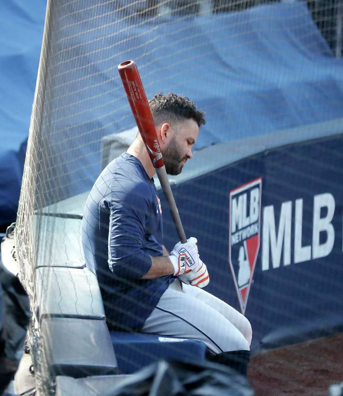 Houston Astros Jose Altuve waits his turn for batting practice during workouts at Petco Park, Saturday, October 10, 2020, in San Diego, as the Astros prepare for the 2020 American League Championship Series against the Tampa Bay Rays starting Sunday.