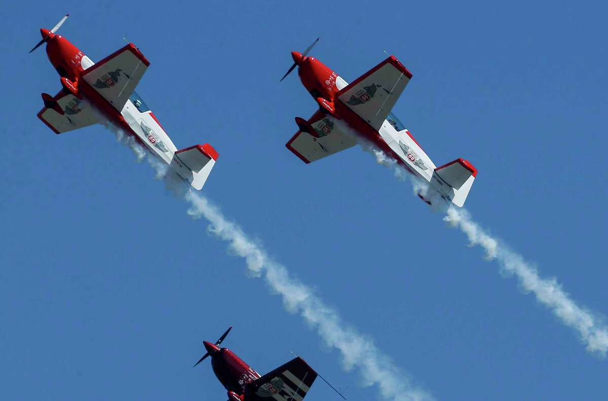 Aerobatic pilots performed for the crowd at this year's Wings Over Houston airshow at Ellington Airport on Saturday, Oct. 10, 2020, in Houston.