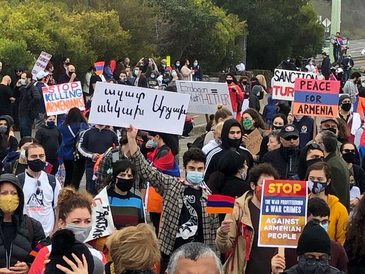 Thousands of people marched across the Golden Gate Bridge on Saturday, Oct. 10, 2020, to draw attention to the conflict between Armenia and Azerbaijan.