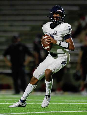 College Park quarterback Ty Buckmon (6) drops back to pass during the third quarter of a non-district high school football game at Edward Mercer Stadium, Saturday, Oct. 10, 2020, in Sugar Land. Photo: Jason Fochtman, Staff Photographer / 2020 © Houston Chronicle